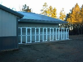 The outside of our dog boarding facility